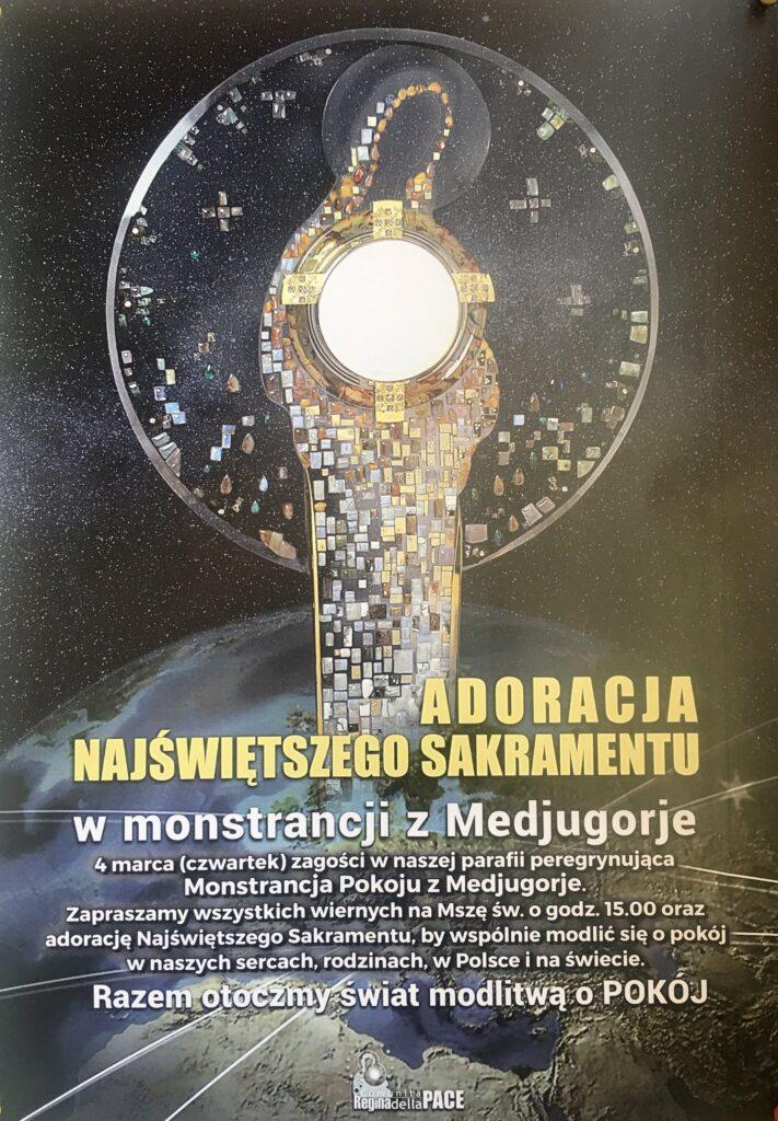 Plakat Adoracja Najświętszego Sakramentu w monstrancji z Medjugorje